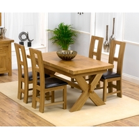 Image of: Bellano Solid Oak Extending Dining Table - 4 Girona Chairs with Leather Seats - Cream