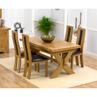 Image of: Bellano Solid Oak Extending Dining Table - 4 Santander Leather Chairs - Brown