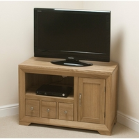 Image of: Bevel Solid Oak Small Corner TV Cabinet - Oak TV Cabinets