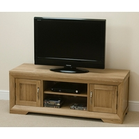 Image of: Bevel Solid Oak Widescreen TV + DVD Cabinet - Oak TV Cabinets
