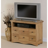Image of: Cairo Solid Oak Corner TV + DVD Cabinet - TV Cabinets