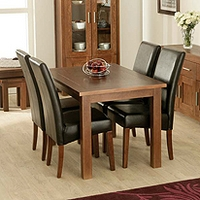 Image of: Dining Table - Calza Oak Rectangular 4 Seater Dining Set and Brown Upholstered Chairs