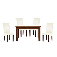 Image of: Calza Oak Rectangular 4 Seater Dining Set and Upholstered Cream Chairs