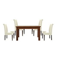 Image of: Calza Oak Rectangular 4 Seater Dining Set and Upholstered Cream Roll Back Chairs