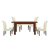 Image of: Calza Oak Rectangular Extending 4 Seater Dining Set and Upholstered Cream Roll Back Chairs