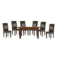 Image of: Calza Oak Rectangular Extending 6 Seater Dining Set and Upholstered Brown Chairs