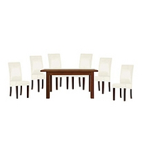 Image of: Calza Oak Rectangular Extending 6 Seater Dining Set and Upholstered Cream Chairs