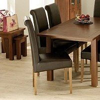 Image of: Calza Oak Upholstered Roll Back Dining Chair in Brown - Oak Dining Chairs