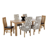 Image of: Canberra Dining Table and 4 Emilia Chairs and 2 Clermont Chairs - Lacquered Finish