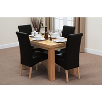 Image of: Chunky 4ft x 2ft 6 - Solid Oak Dining Table and 4 Black Leather Scroll Back Chairs