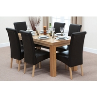 Image of: Chunky 5ft x 2ft 6 - Solid Oak Dining Table and 6 Black Leather Chairs - Dining Tables