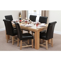 Image of: Chunky 6ft x 3ft Solid Oak Dining Table and 6 Black Leather Braced Chairs