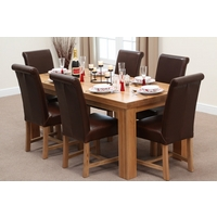 Image of: Chunky 6ft x 3ft Solid Oak Dining Table and 6 Brown Leather Braced Chairs