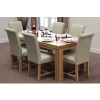 Image of: Chunky 6ft x 3ft Solid Oak Dining Table and 6 Cream Leather Braced Chairs - Dining Tables