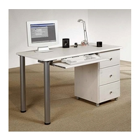 Image of: Computer Desk - Mansa Solid Pine Computer Desk in White - Desks