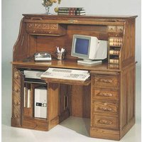Image of: Computer Desk - Colonial Oak Roll Top Computer Desk - Computer Desk