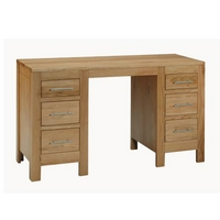 Image of: Pedestal Desk - Contemporary Oak Double Pedestal Desk - Oak Pedestal Desk