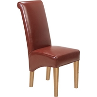 Image of: Dining Chairs - Cuba Solid Oak Red Leather Chair - Pair