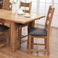 Image of: Danube Solid Oak Upholstered Dining Chair - Pair of Dining Chairs