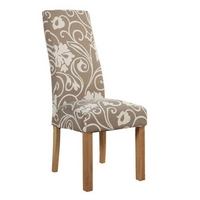 Image of: Emilia Oak Fabric Dining Chair - Pair of Dining Chairs - Fabric Chairs