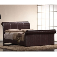 Image of: Harmony Rome 4FT Small Double Leather Bedstead Brown - Double Beds