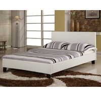 Image of: Harmony Venice 4FT 6 Double Leather Bedstead White - Double Beds