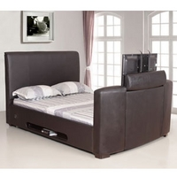 Image of: Artisan 4FT 6 Double Bed - Leather TV Bed Black - Double Beds