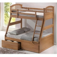 Image of: Artisan Oak Three Sleeper Bunk Bed - Bunk Beds