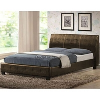 Image of: Harmony Valencia 4FT Small Double Leather Bedstead Brown - Double Beds
