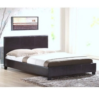 Image of: Harmony Venice 4FT 6 Double Leather Bedstead Brown - Double Beds