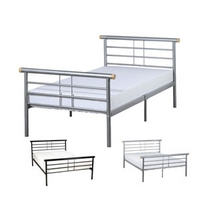 Image of: LPD Gemini 3FT Single Metal Bedstead, Silver - Single Beds
