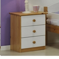 Image of: Star Collection Verona 3 Drawer Bedside Table, White - Bedside Tables