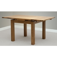 Image of: Rustic 3ft x 3ft Solid Oak Extending Dining Table, Seats up to 6 people Extended