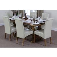Image of: Solid Oak Crossed Leg Dining Table 6ft x 3ft + 6 Scroll Back Cream Leather Chairs