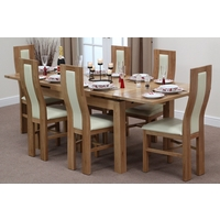 Image of: Solid Oak Extending Dining Table 4ft 7 x 3ft + 6 Cream Curve Back Chairs - Oak Tables