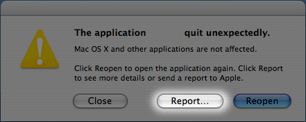 OSX crash report, report button (second from left) highlighted