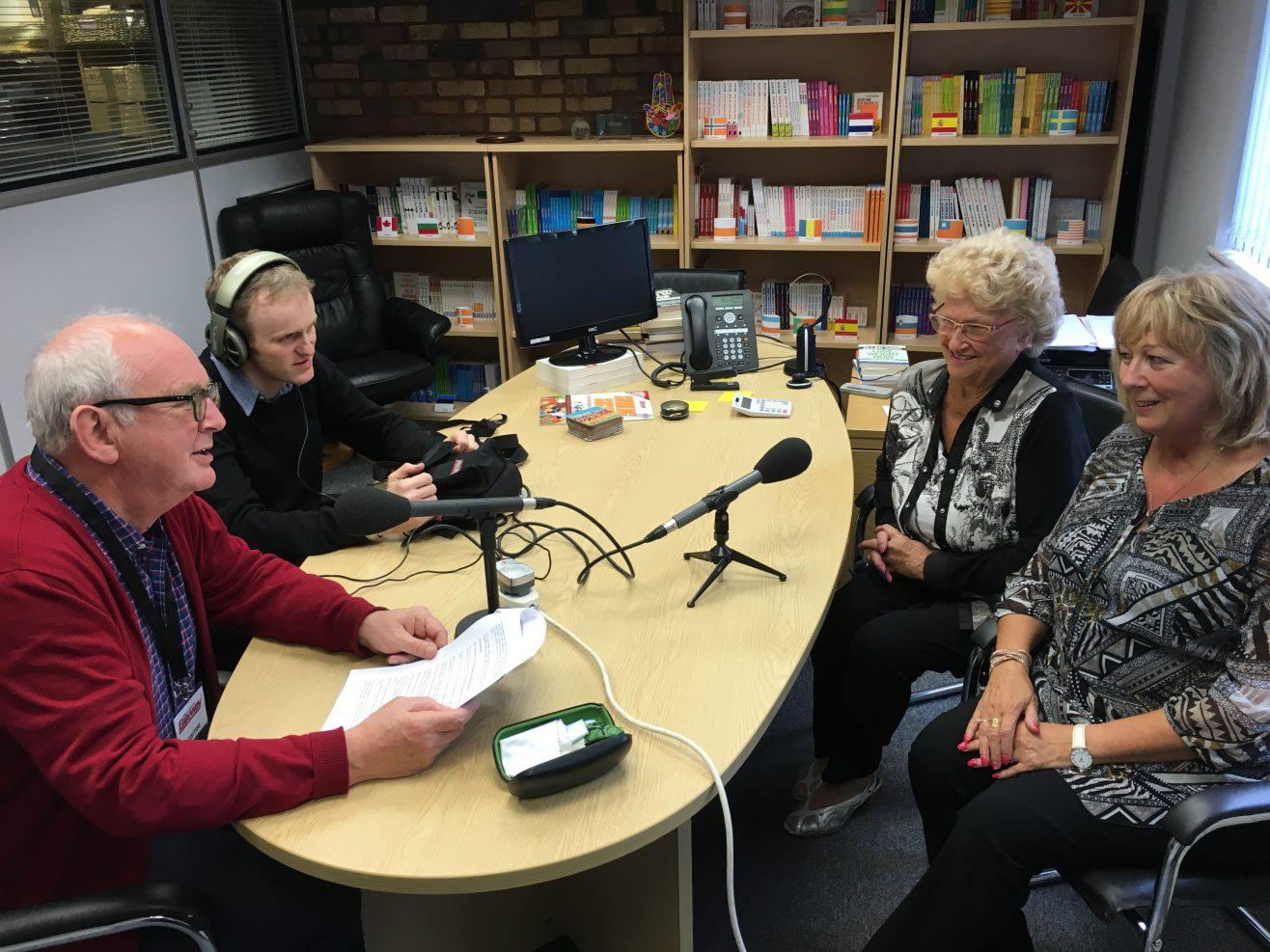 Madi and Joyce with simon Jacobs and John Waite on BBC Radio 4