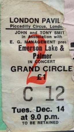 ELP concert ticket 1971
