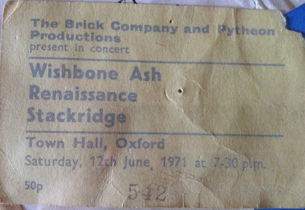 My Wishbone Ash concert ticket 1971