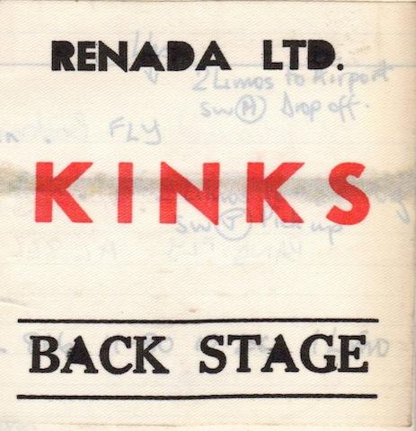 Kinks tour backstage pass