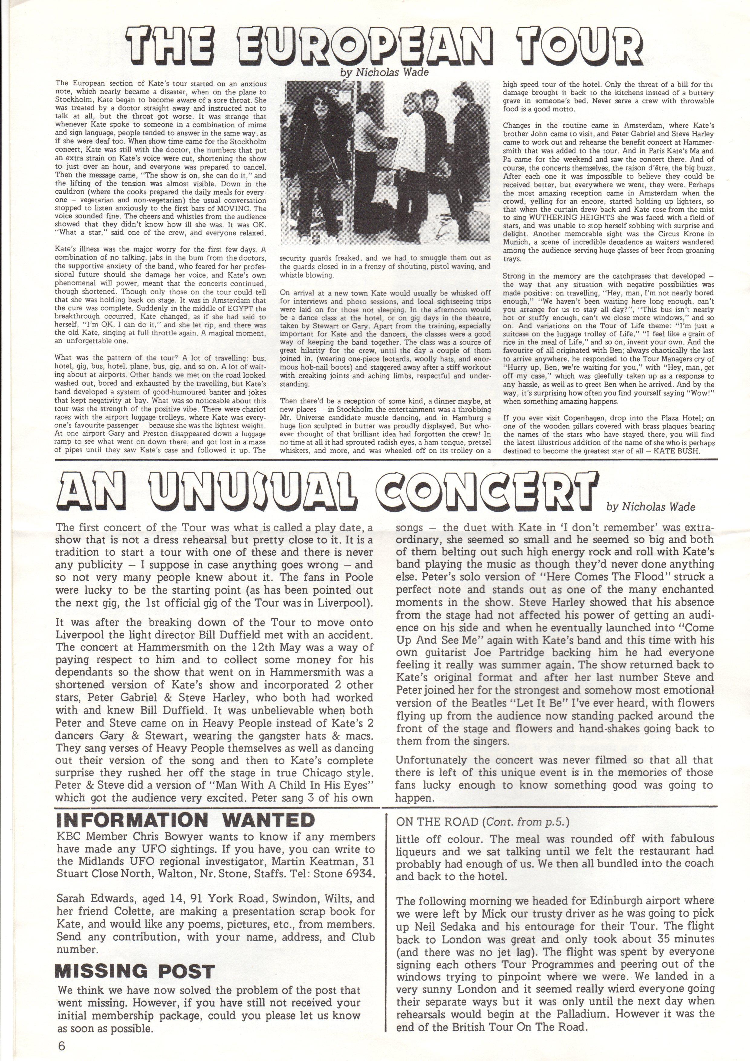 fanzine tour report