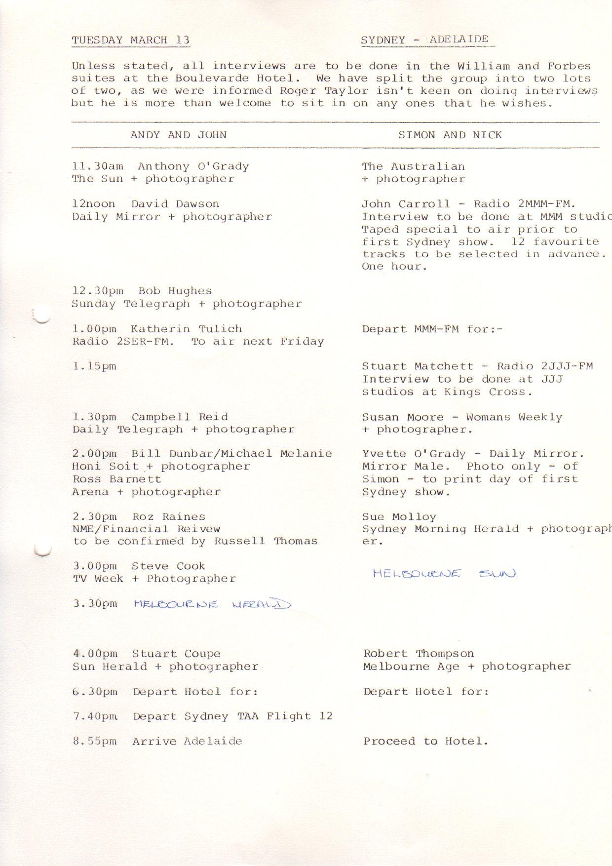 Aussie Press schedule 7