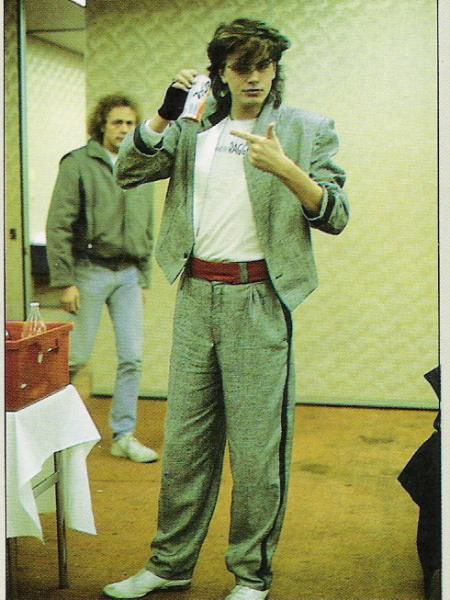 John in dressing room with me in background Japan 84