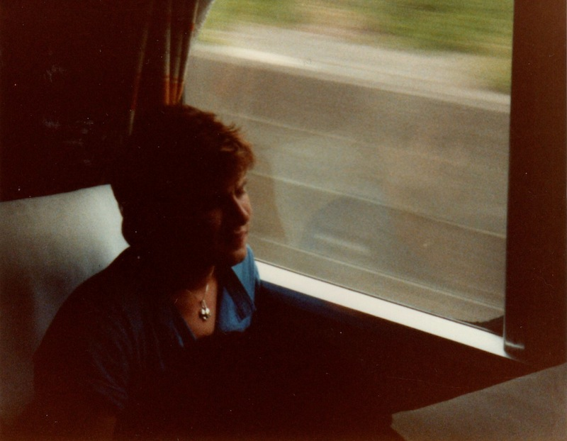simon on a bullet train in Japan 1984