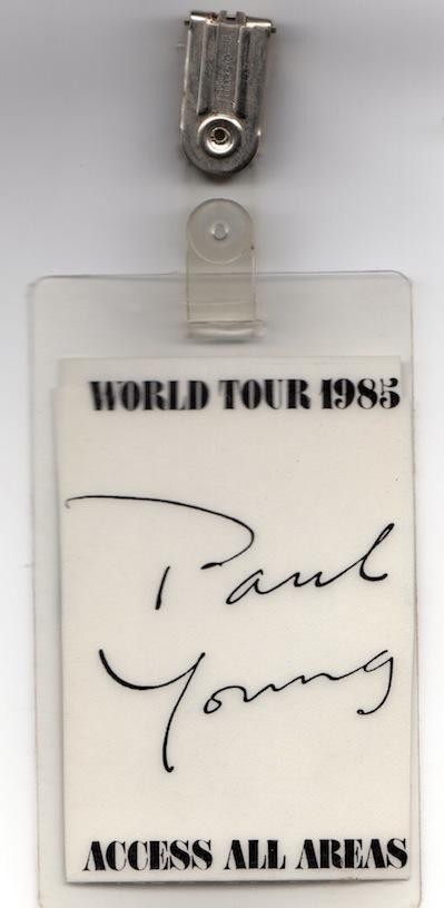Paul Young Tour Pass back