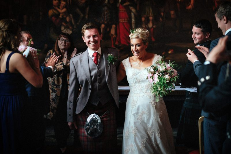 Bride and Groom just married at Adlington Hall wedding in Cheshire