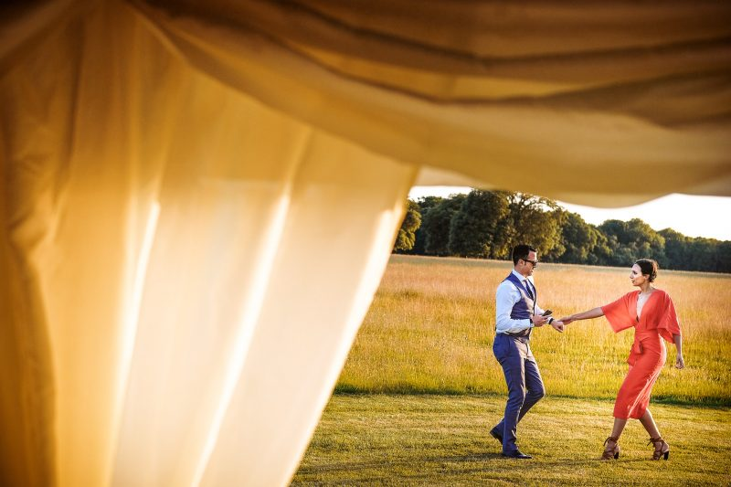 Couple dances outside the marquee at a Knowlton Court Wedding