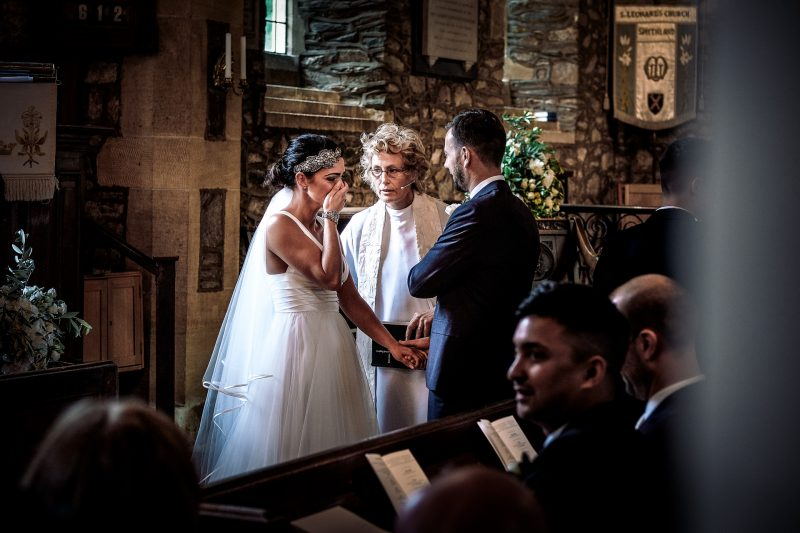Emotional bride at her wedding in Swithland in Leicestershire