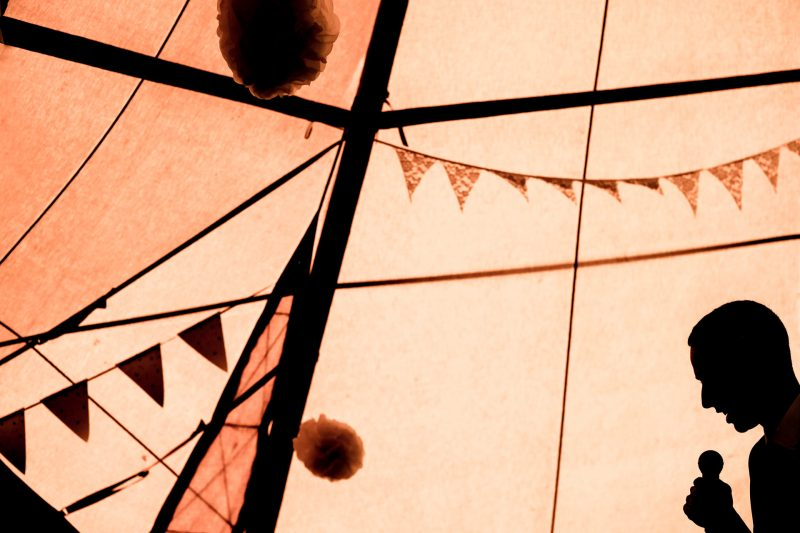 Speeches silhouette in Tipi wedding