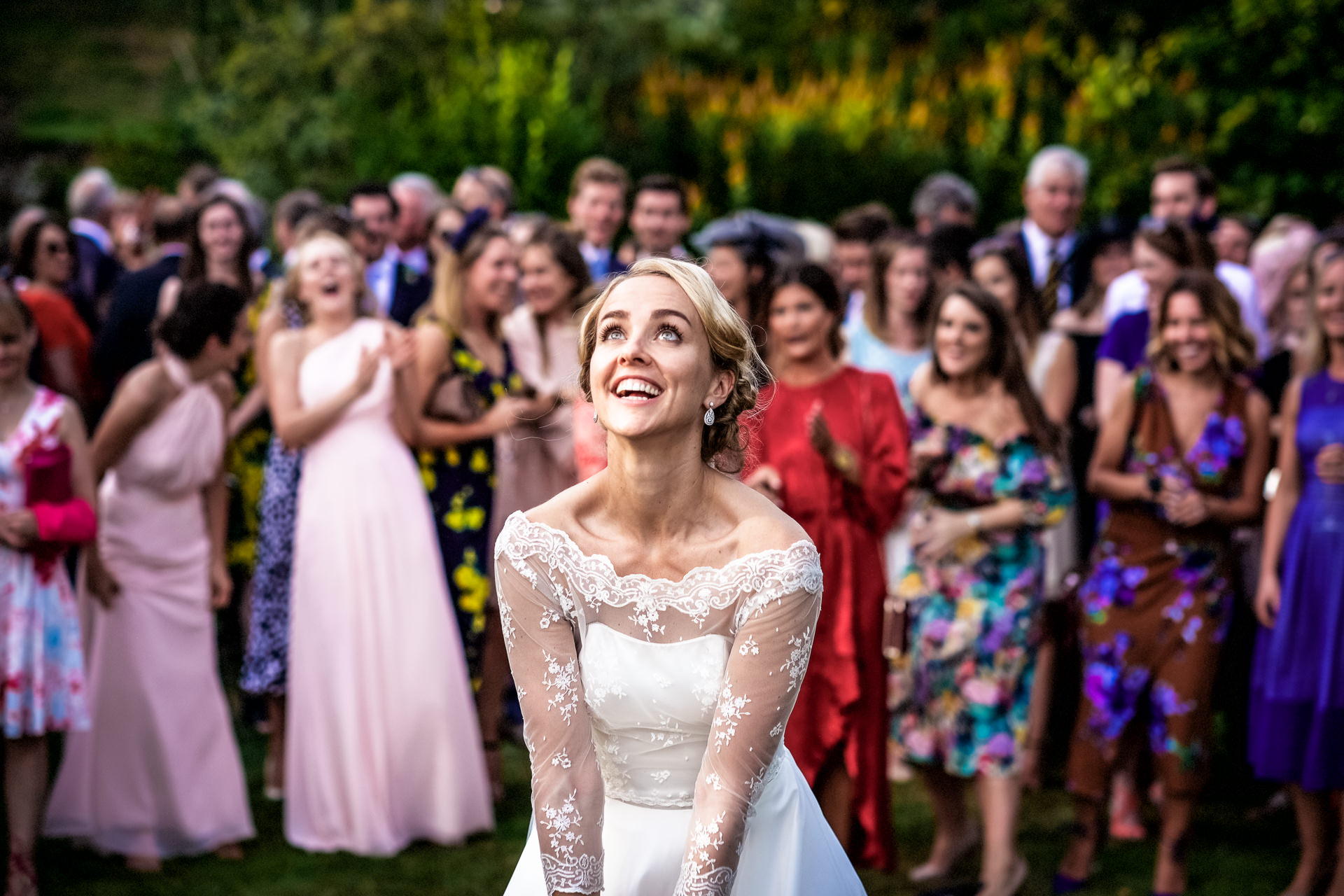 Bride about to throw the bouquet